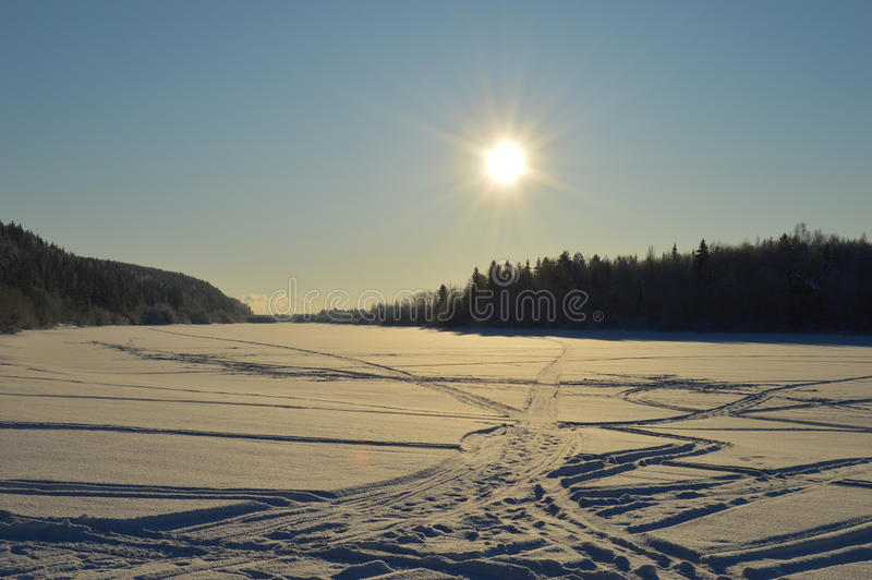 Winter sun on the river royalty free stock images