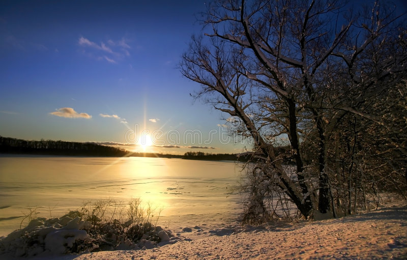 Winter Sun Set royalty free stock photo