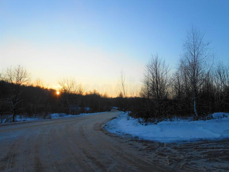 Winter sundown on the road. royalty free stock images