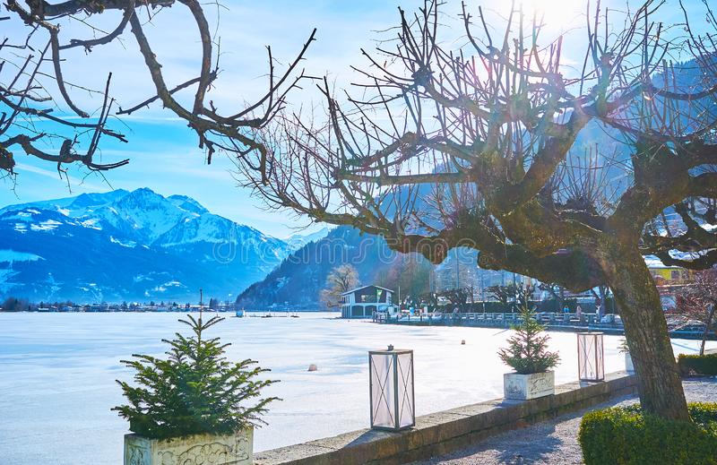 Winter sunny day on Zeller See, Zell am See, Austria royalty free stock image