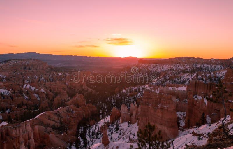 Winter Sunrise at Bryce Canyon National Park Utah stock photos