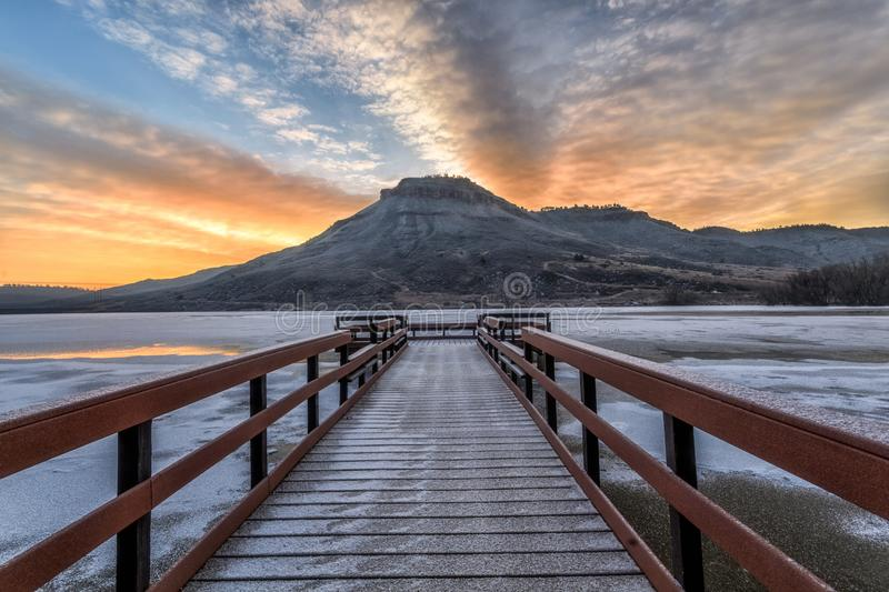Winter Sunrise at Flatiron Reservoir located in Loveland, Colorado in Larimer County royalty free stock images