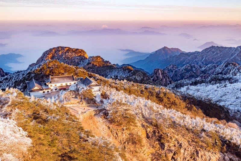 Winter sunrise landscape in Huangshan National park. stock photos