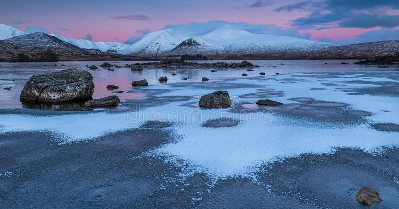 Winter Sunrise at Lochan na h-achlaise, Glencoe royalty free stock images