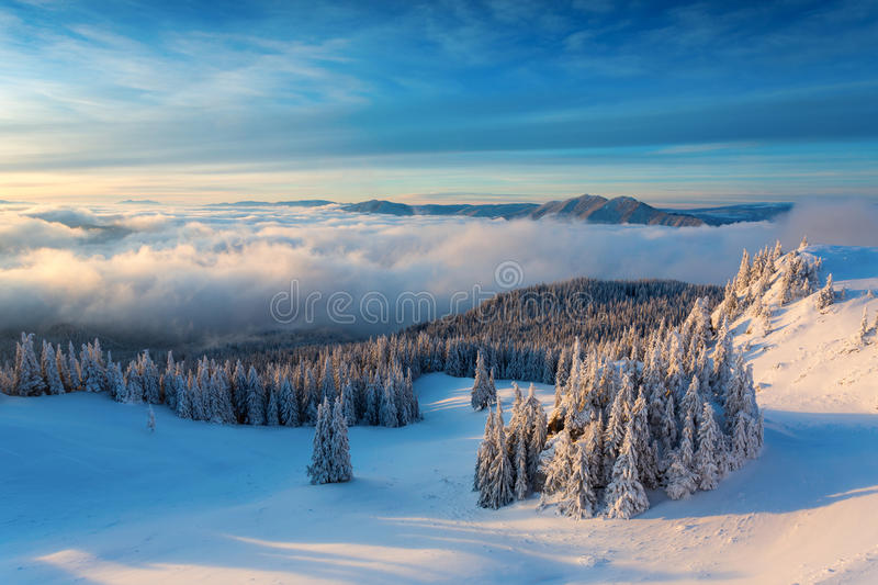 Winter sunrise over the clouds royalty free stock photo
