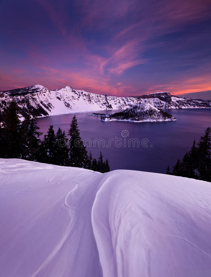 Winter Sunrise over Crater Lake royalty free stock image