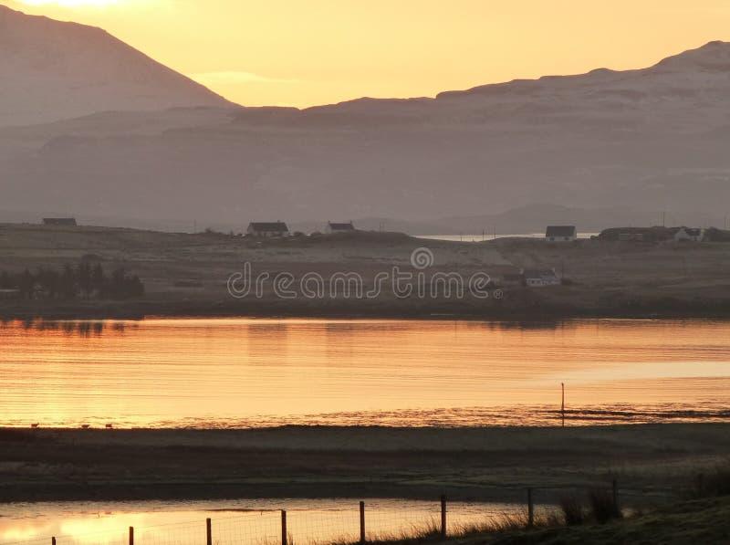 Winter sunrise over Loch Bracadale, Isle of Skye royalty free stock images