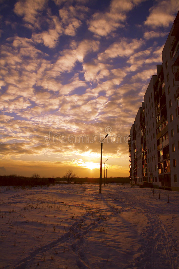 Download Winter sunset stock image. Image of sunset, house, blue - 1383809