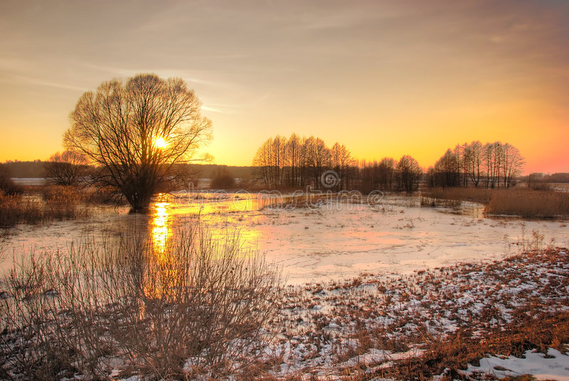 Download Winter sunset stock image. Image of pond, frost, range - 3585177