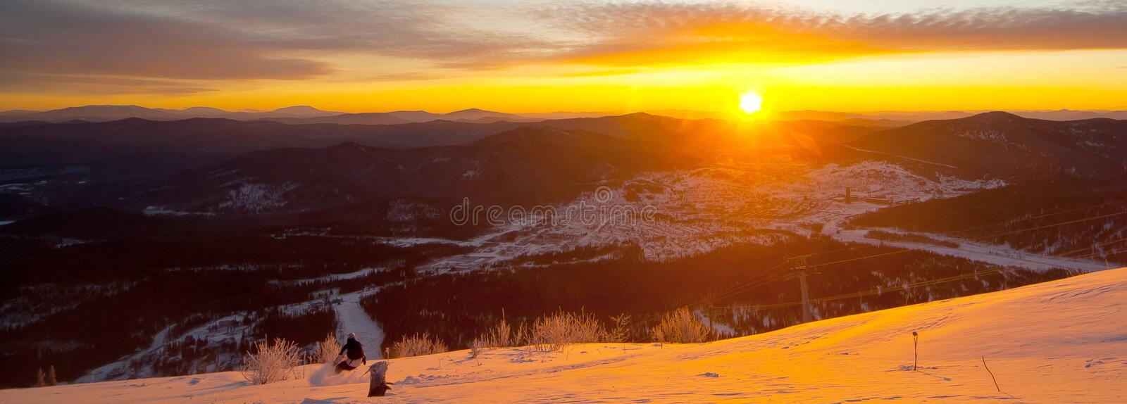 Winter sunset in the forest royalty free stock photos