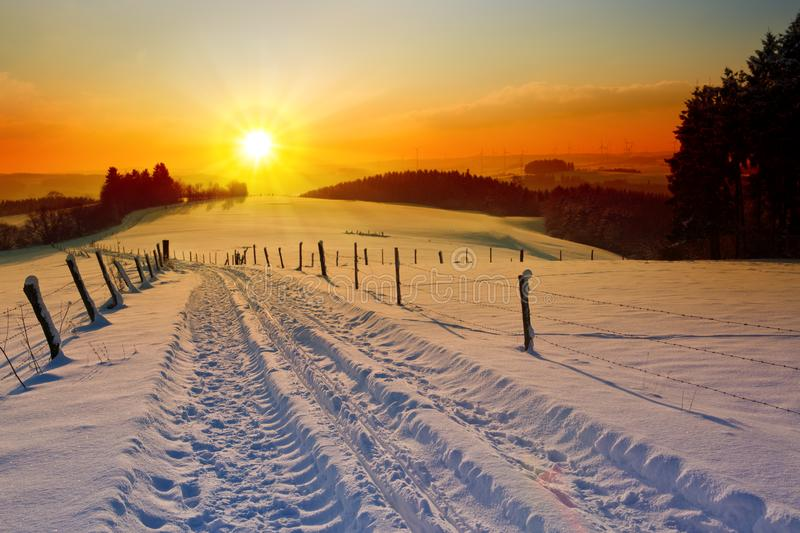 Winter sunset landscape with trees and field road. royalty free stock photos