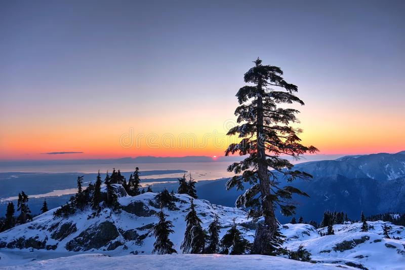 Winter sunset at Mount Seymour Provincial Park. stock photography