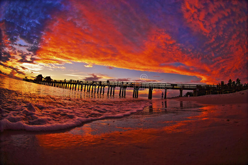 Winter Sunset Naples Pier royalty free stock images