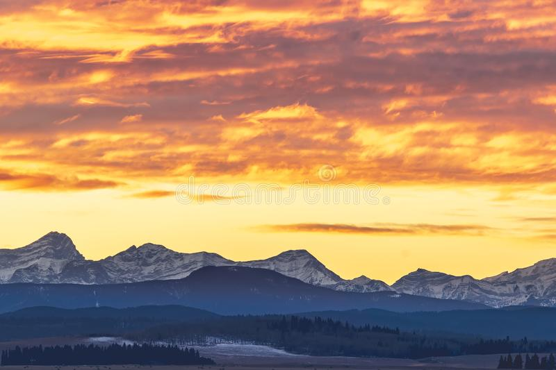 Winter sunset over the Canadian Rockies royalty free stock photo