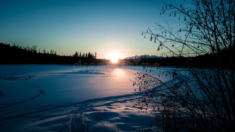 Winter Sunset Over Lake royalty free stock photography