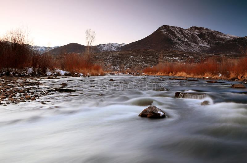 Winter sunset at the Provo River. royalty free stock photo