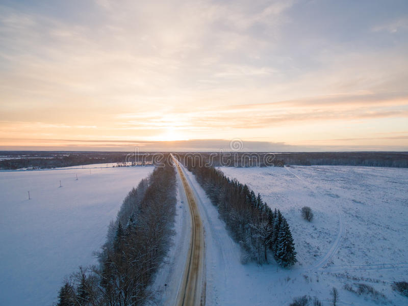 Winter sunset. Russia, Moscow suburbs stock photo