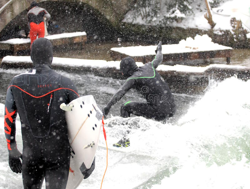 Winter Surfing in Munich royalty free stock photography