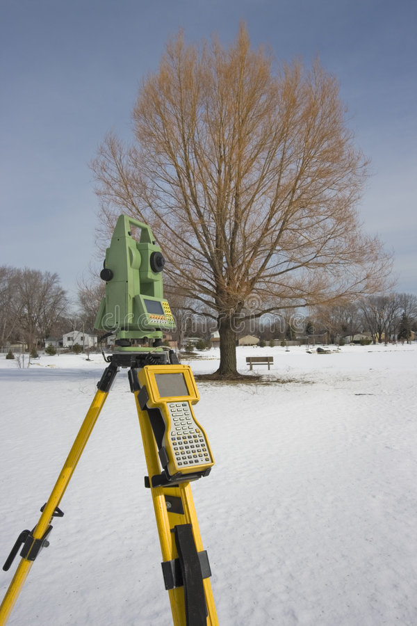 Winter surveying stock image