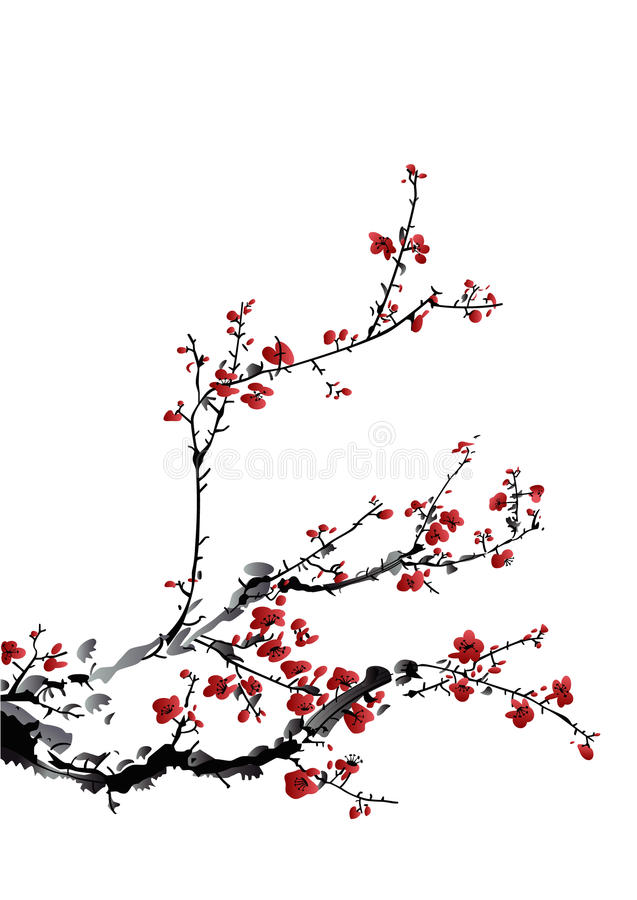 Winter sweet. Chinese ink paint of wintersweet