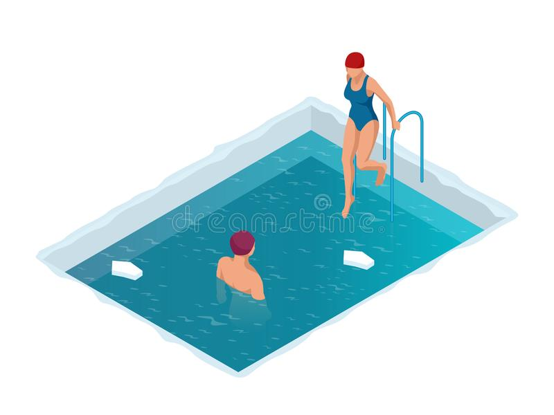 Winter swimming in a frozen river. Man and woman in an ice-hole. Healthy lifestyle. Isometric vector illustration stock illustration