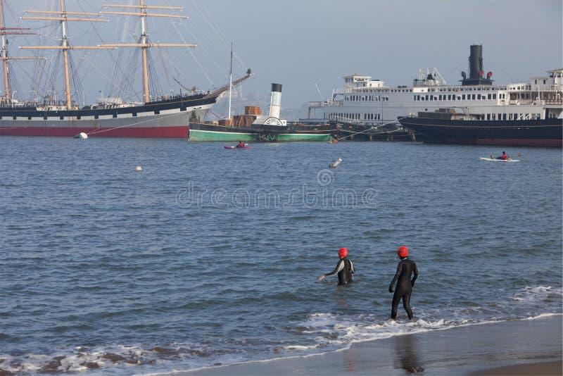 Download Winter Swimming And Kayaking In San Fransisco Bay Stock Photo - Image: 12303110