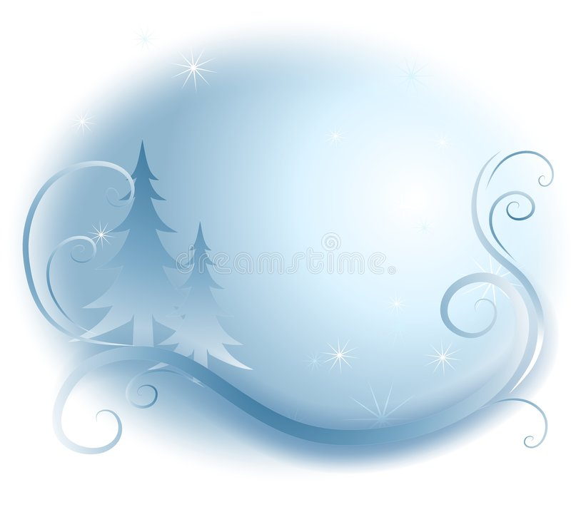 Winter Swirls Background. An illustration featuring a subtle winter scene with trees, swirls and a touch of sparkles in blue and white royalty free illustration