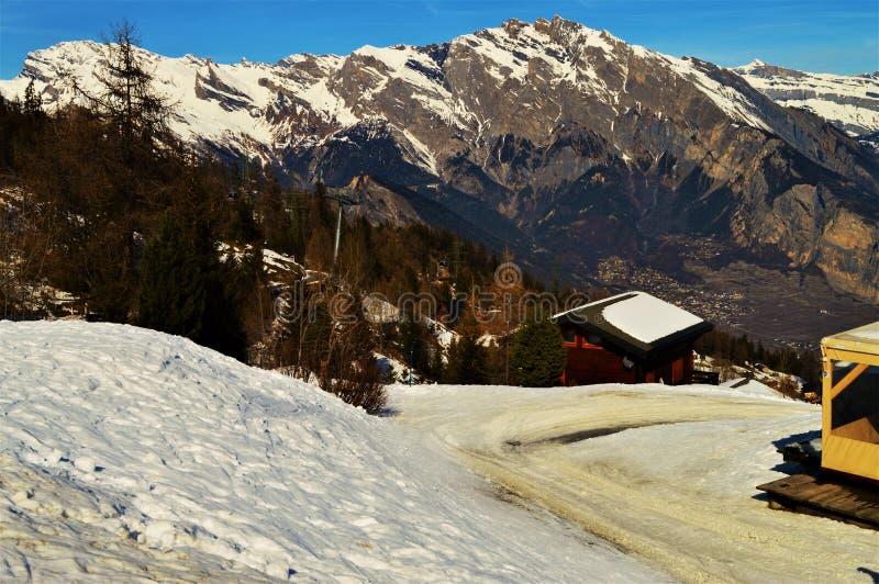 Winter and the Swiss Alps. Winter landscape of Swiss Alps, La Tzoumaz, Switzerland royalty free stock images
