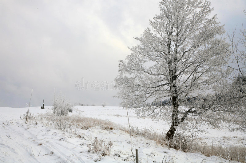 Winter in Table Mountain in Pasterka – Poland. – Roadside cross royalty free stock photos