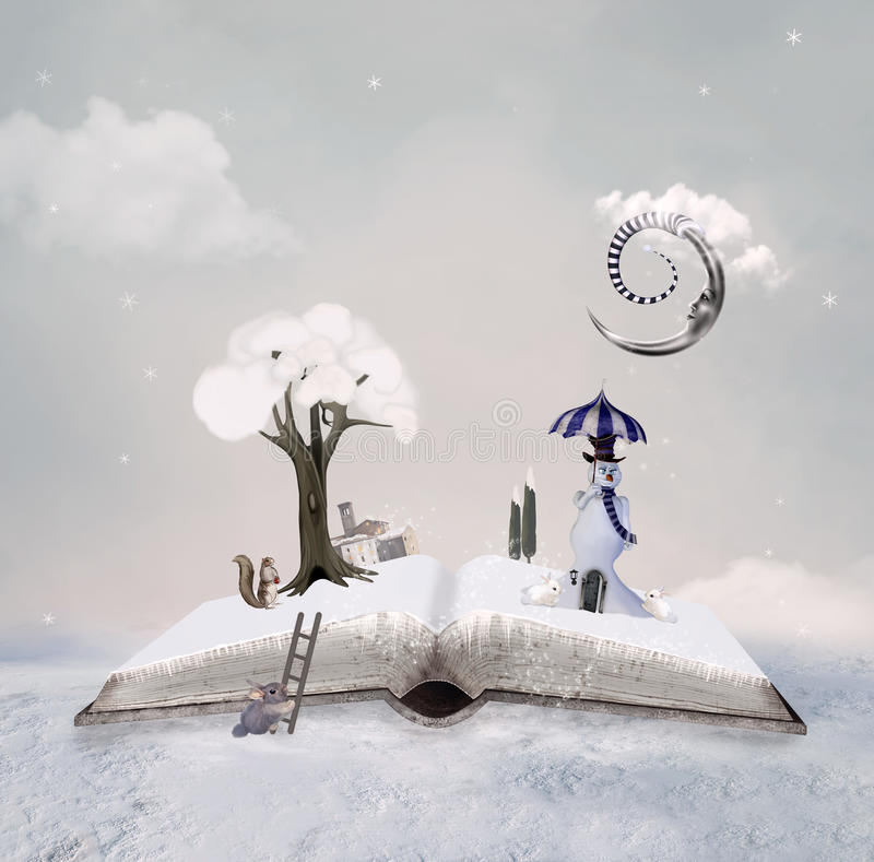 Winter tale book stock illustration