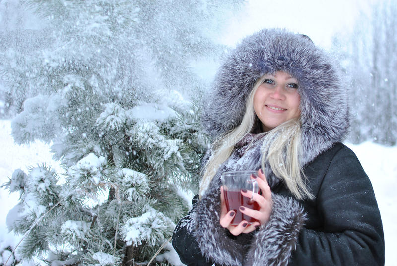 Download Winter tea stock image. Image of cold, face, smile, tree - 28280243