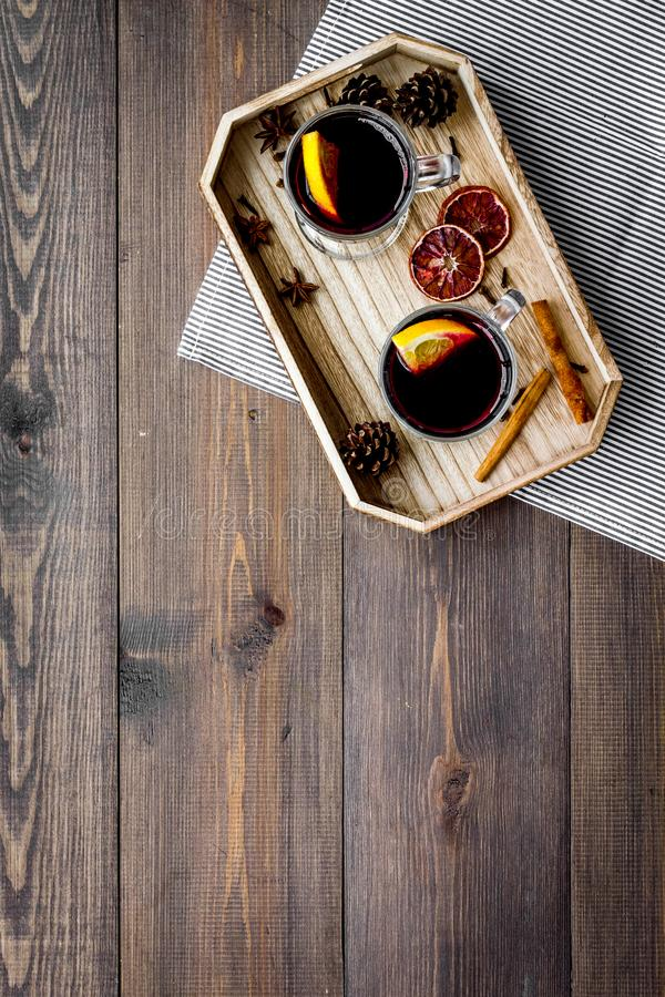 Download Winter Tea With Citrus And Spices On Dark Wooden Background Top View Copyspace Stock Image - Image of fruit, mulling: 105343361