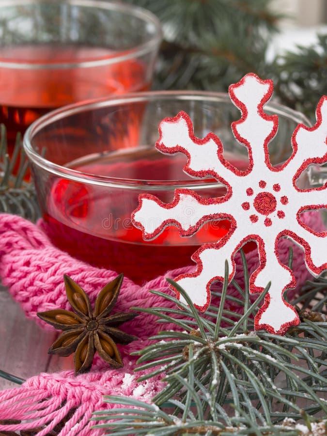 Winter tea with xmas decoration stock image