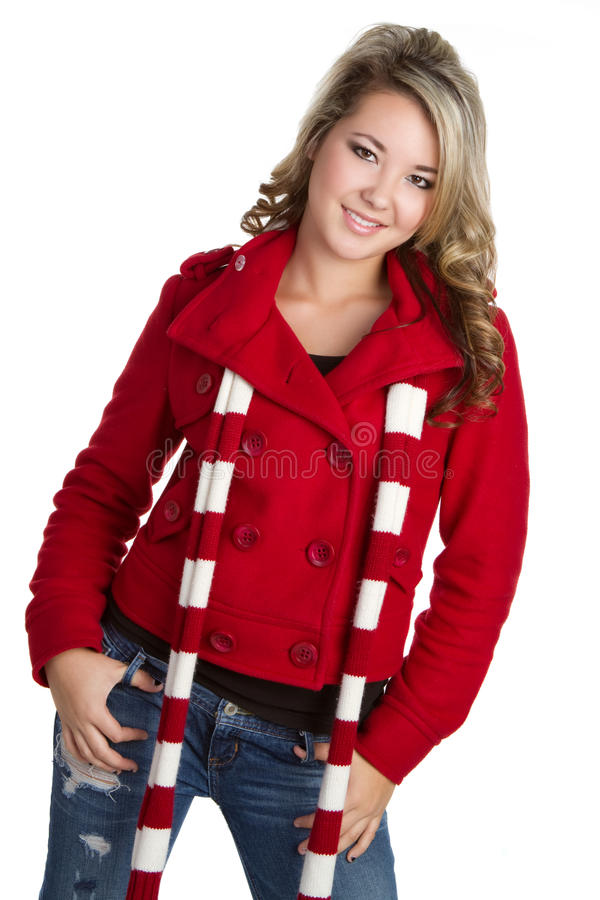 Download Winter Teen stock photo. Image of scarf, posing, pretty - 12297672