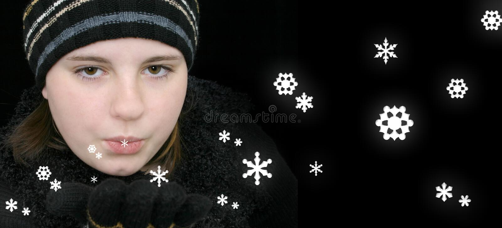 Download Winter Teen Girl Blowing Magical Snow Stock Images - Image: 50974