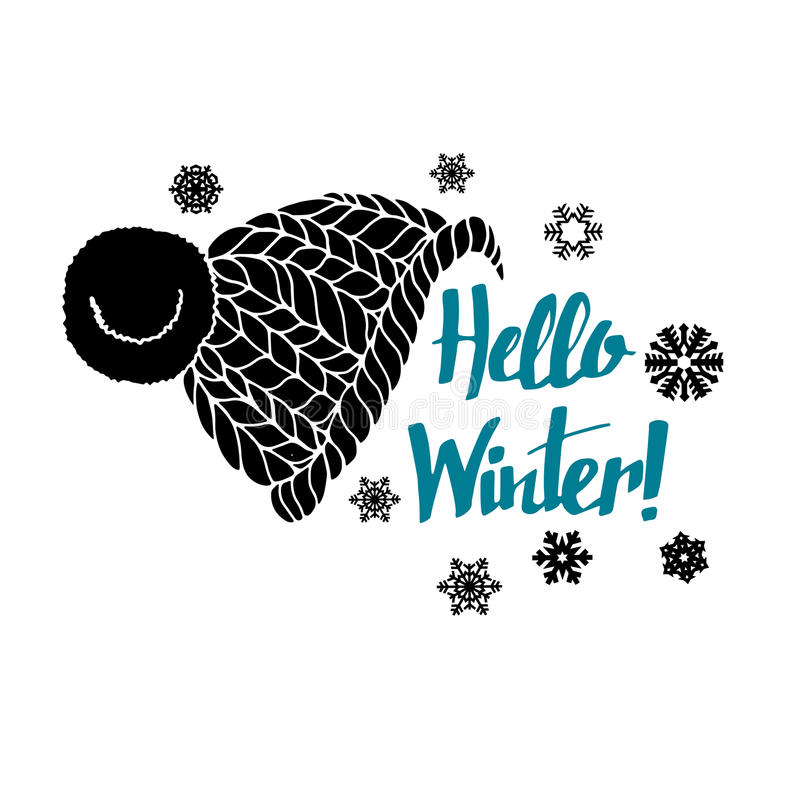 Winter text hello banner greeting background calligraphy stock illustration