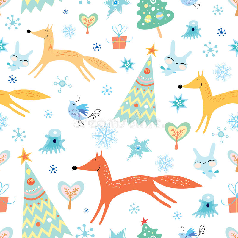 Winter texture with foxes royalty free illustration