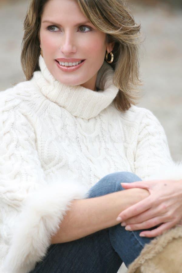 Download Winter Theme - Gorgeous Woman In White Sweater Stock Photo - Image of woman, season: 7094908
