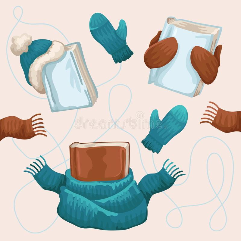 Winter things of reading person, books, scarfs, cap and mittens. A Christmas illustration. Vector drawing print vector illustration