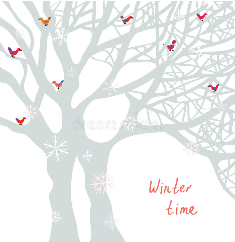 Winter time Christmas card with tree and birds stock illustration