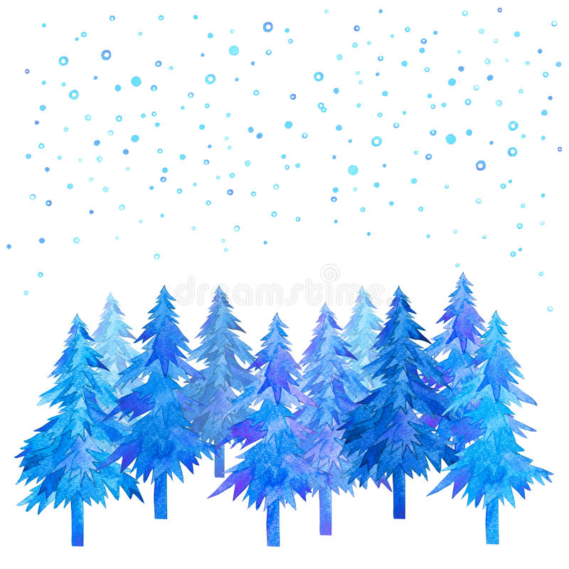 Winter time Christmas trees and snowfall watercolor hand painted. Winter time Christmas trees and snowfall watercolor hand painted isolated on white background royalty free illustration