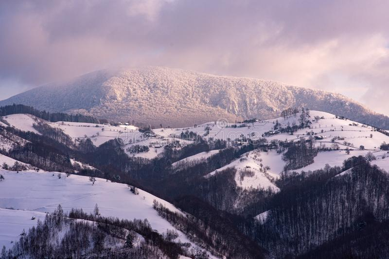 Winter time landscape in Transylvania  , Romania , Carpathian mountains royalty free stock image