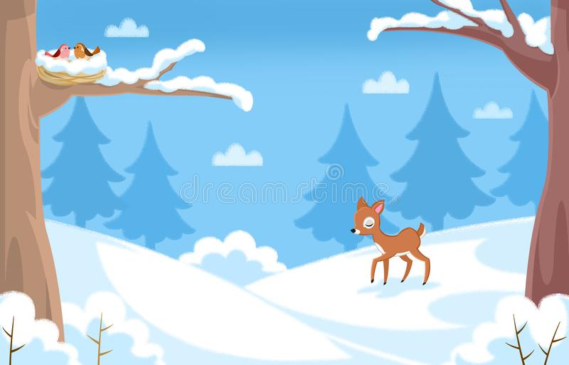 Winter time - Landscape under the snow, and cute animal characters stock illustration