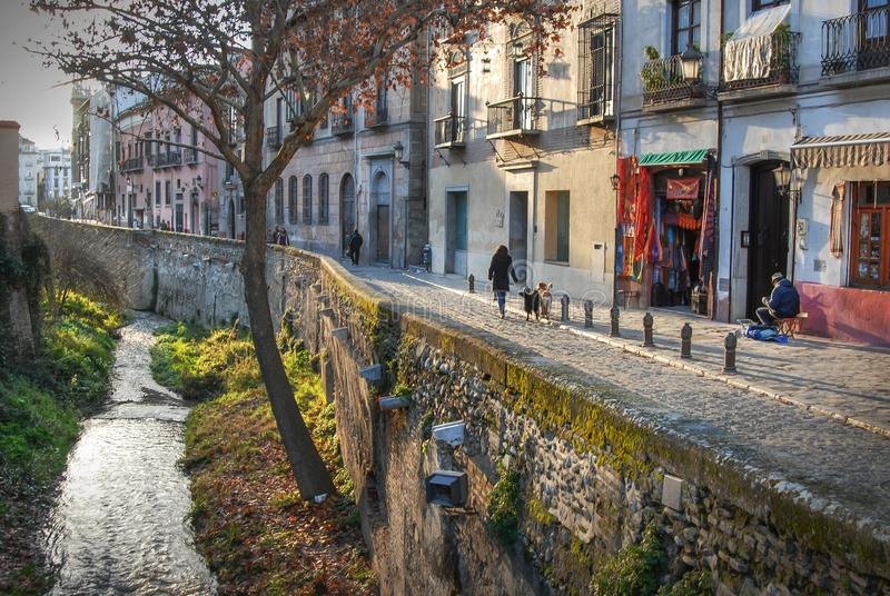Winter afternoon,Calle del Darras, Granada,Andalucia,Spain. Winter time is peaceful along the scenic Paseo de Padre Manoin,Granada, Andalucia,Spain stock photos