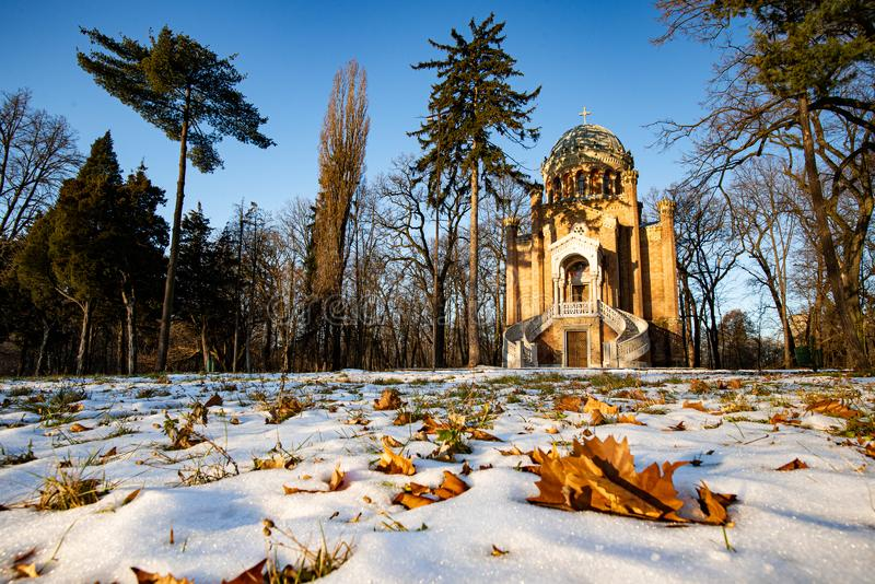 Winter time in Stirbei park , Buftea city , Romania.  royalty free stock images