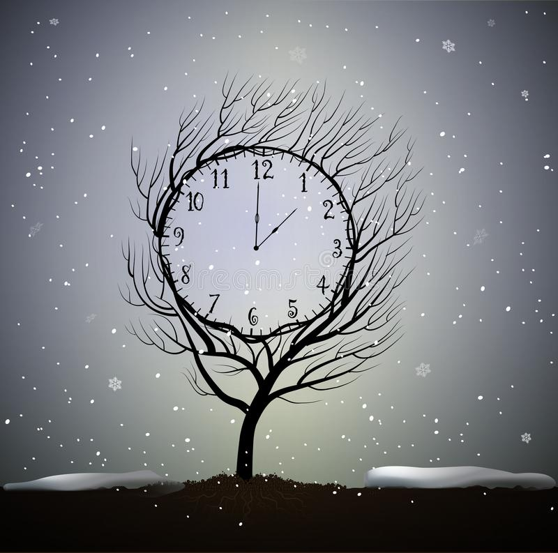 Winter time, tree looks like winter clock, 5 minutes to frosty weather, magic clock tree growing on soil in beautiful. Winter day, vector royalty free illustration