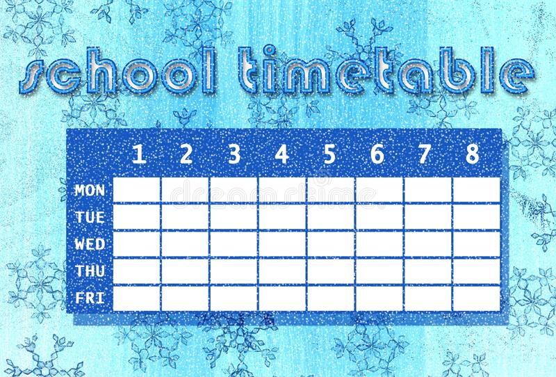 Winter timetable. School timetable template with blue abstract background in snowing theme vector illustration