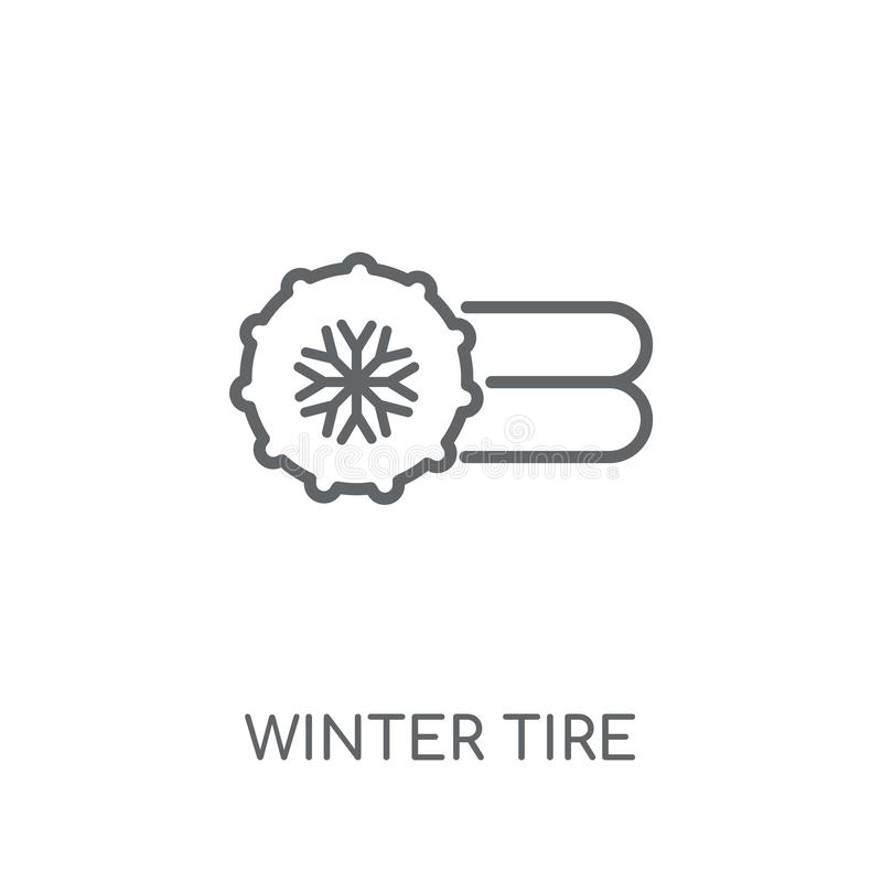Winter tire linear icon. Modern outline Winter tire logo concept stock illustration
