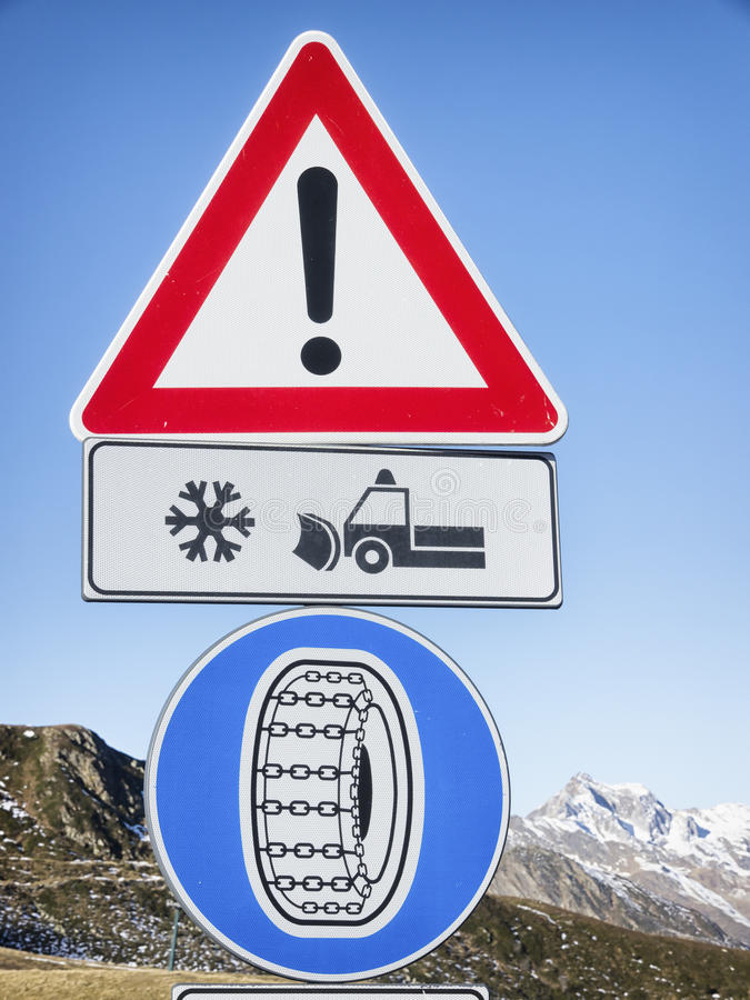 Download Winter tire road sign stock photo. Image of tire, danger - 35492012