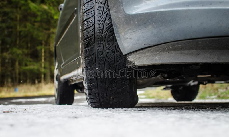 Tires on snow royalty free stock image